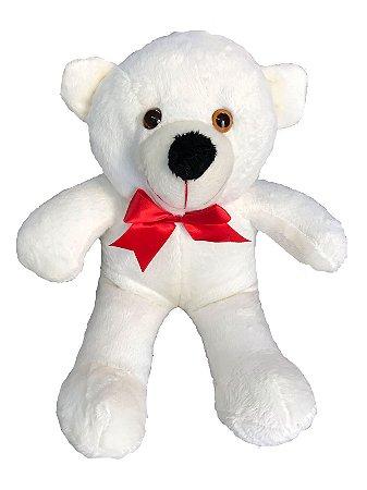 Urso De Pelúcia Teddy Grande Com Laço 50cm - Baunilha