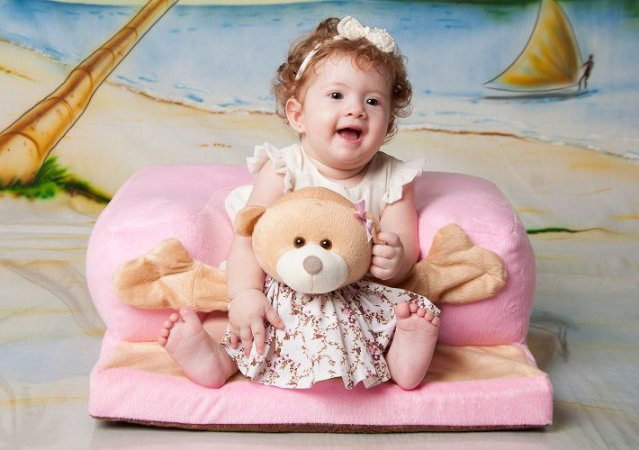 Assento De Bebê - Cadeirinha Sofázinho Multi-  Uso Estofada - Ursinha Rosa