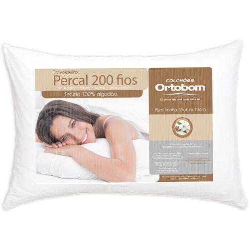 1 Travesseiros Ortobom Percal 200 Fios - 100% Algodão