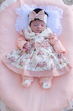Saída De Maternidade 5 Peças Menina Charmosa Salmão