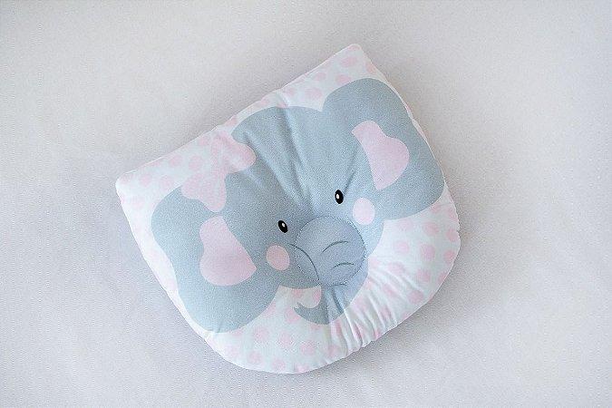 Travesseiro Almofada Rn Bebê Anatômico Para Bebê- Elefante Rosa