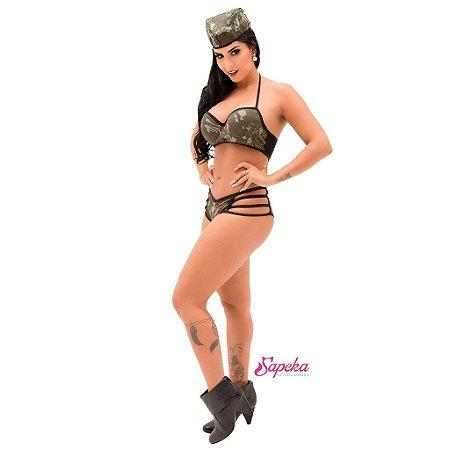 Fantasia Feminina Militar Eliane - Tamanho GG