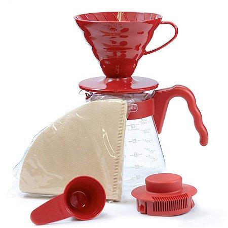 Kit Hario V60 Vermelho para Café Coado - Hario