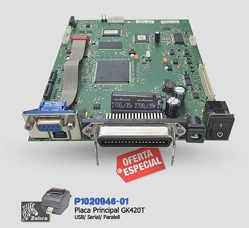 Placa Lógica Zebra GK420T USB/Serial/Paralela | P1020946-01