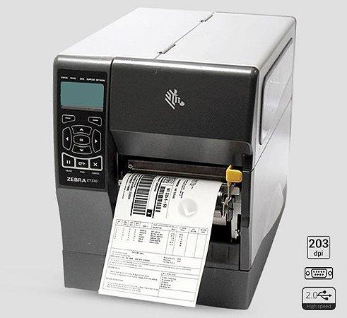 Impressora Zebra ZT230 + Peel Off + Rebobinador de Liner