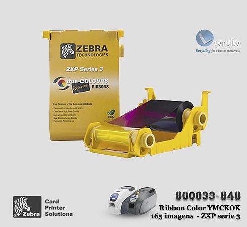 Ribbon Color Zebra ZXP 3 - YMCKOK (6 Painéis)