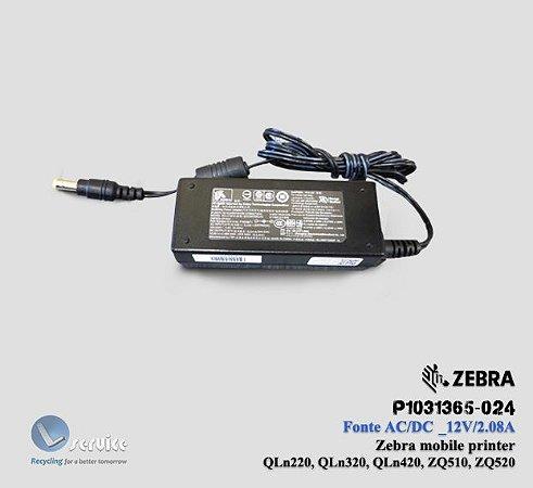 Carregador de Bateria AC/DC Zebra Mobile ZQ/QLn series.