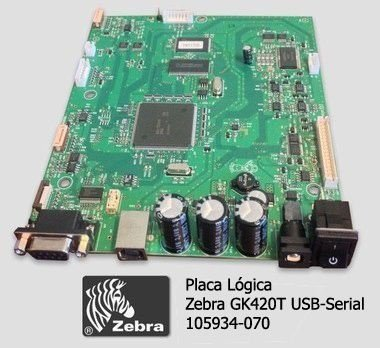 Placa Lógica Zebra GK420T|USB-Serial|105934-070