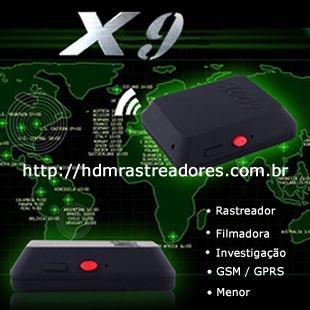 Rastreador pessoal X9 com filmadora, cartão de memória de 8GB, chip e recarga