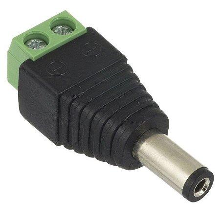 Conector P4 macho com borne para alimentação câmeras de segurança