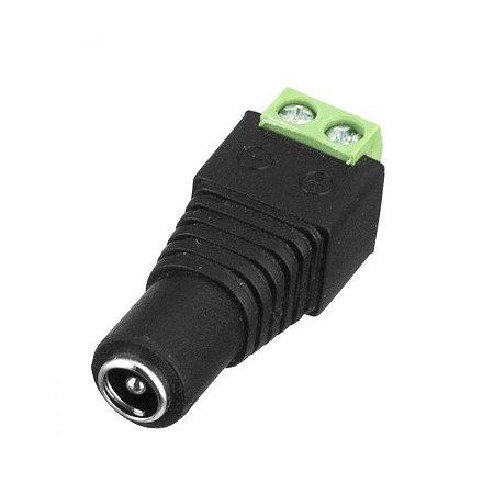 Conector P4 fêmea com borne para câmeras de segurança