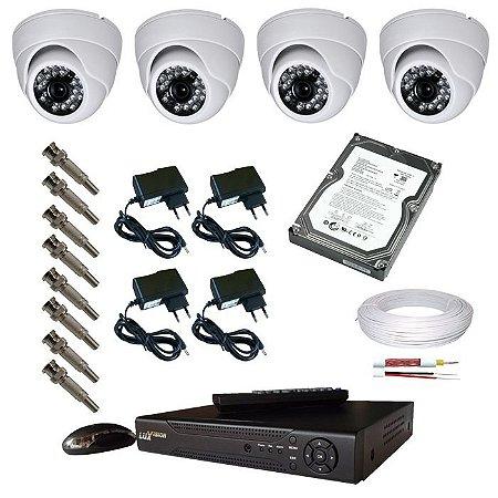 Kit 4 Câmera Segurança Infravermelho Gravador DVR HD 500GB via internet