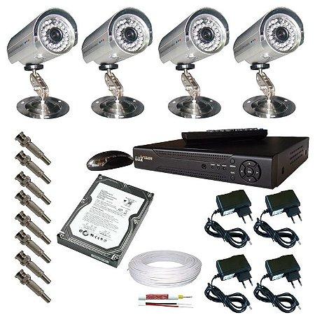 Kit completo com 4 câmeras de monitoramento com gravador DVR stand alone com saída hdmi