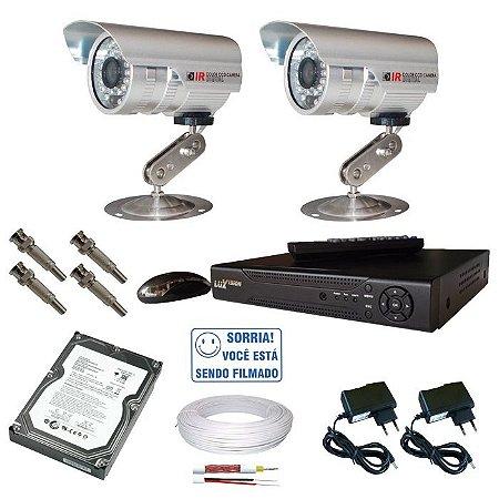 Kit 2 Câmeras Segurança Gravador Dvr stand alone Acesso Internet