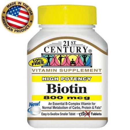 Biotina 800 mcg - (110 tabs) - 21 st Century