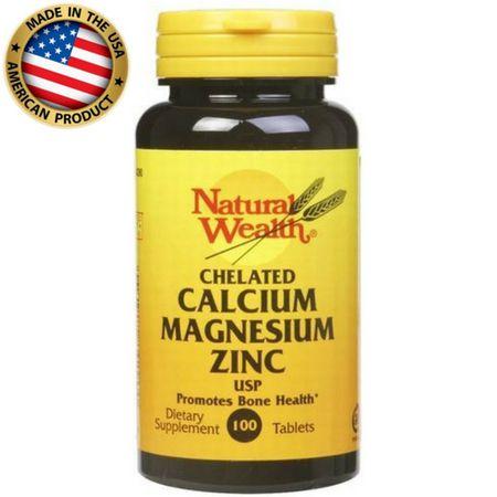 Cálcio Magnésio e Zinco - (100 tabs) - Natural Wealth