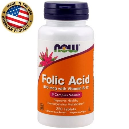 Àcido Fólico com Vitamina B-12 800mcg - (250 Caps) - Now Sports