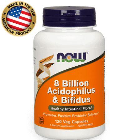 8 Bilion Acidophilus & Bifidus- (probiótico) -  (60 caps) - Now Sports
