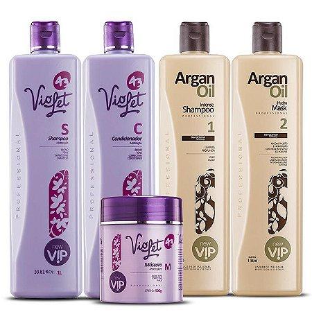 Vip Argan Oil Escova Progressiva New Vip + Kit Matizador Violet Professional Litro