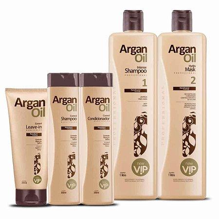 Escova Progressiva Vip Argan Oil + Kit Manutenção Progressiva Argan Oil