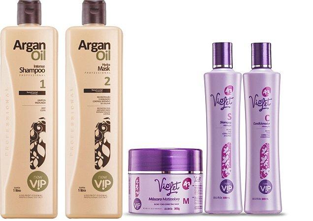 Compre Kit Progressiva Vip Argan 1lt e Ganhe 01 kit Matizador Manutenção Violet 300Gr