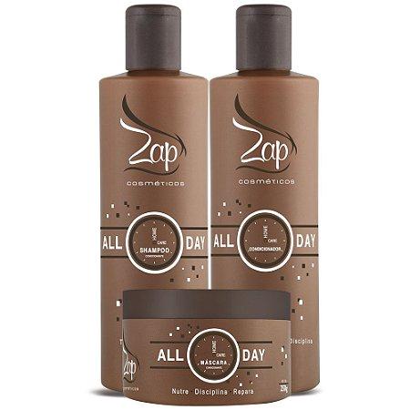 Kit Completo Manutenção ALL DAY Home Care  - Shampoo+Condicionador+Máscara250g