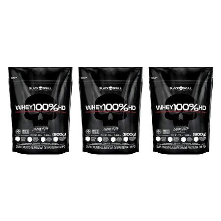 COMBO 3x WHEY 100% HD 900G - BLACK SKULL
