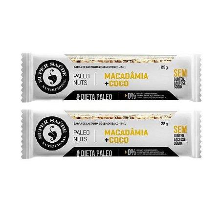 Barra de Nuts Paleo Macadâmia + Coco - Caixa com 2 barras - 50g