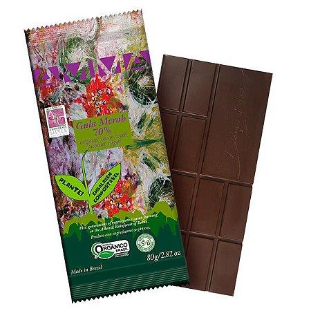 Chocolate Orgânico 70% Cacau Gula Merah AMMA 80g Cx 6 un