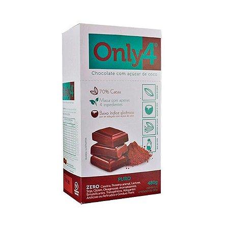 Chocolate Only4 70% Cacau Puro - Caixa com 6 unidades