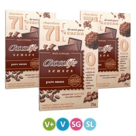 Tablete de Chocolate Senses 71% Puro Cacau - 3 unidades