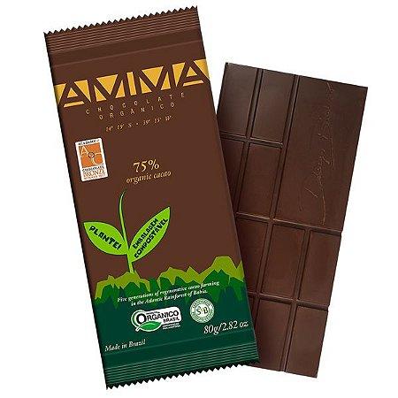 Chocolate Orgânico 75% Cacau AMMA Caixa 6 un