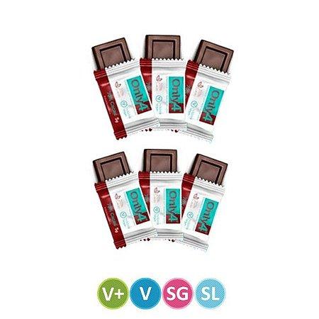 Quadradinhos Chocolate Only4 70% Cacau Puro - 6 unidades