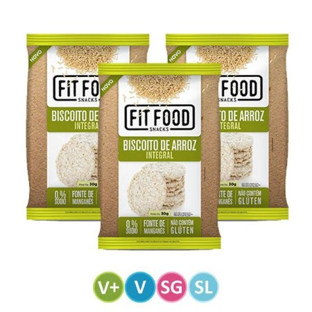 Biscoitos de Arroz Integral Fit Food - Kit 3 unidades