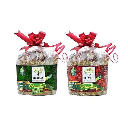 1 Mini Panetone de Frutas + 1 Mini Panetone Chocolate Sem Glúten