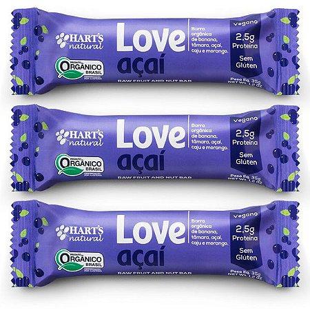 Barra Vegana de Frutas Love Açai Hart's - 3 unidades