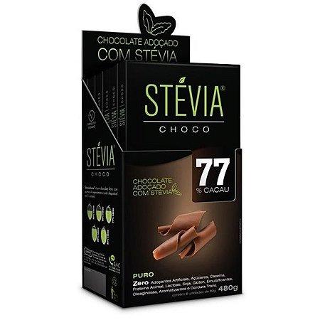 Chocolate Stevia 77% Cacau - Caixa com 6 Tabletes de 80g