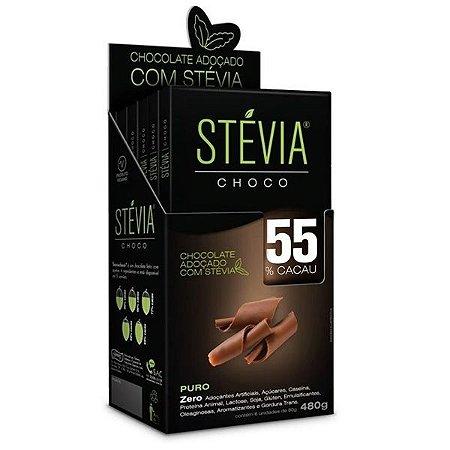 Chocolate Stevia 55% Cacau - Caixa com 6 Tabletes de 80g
