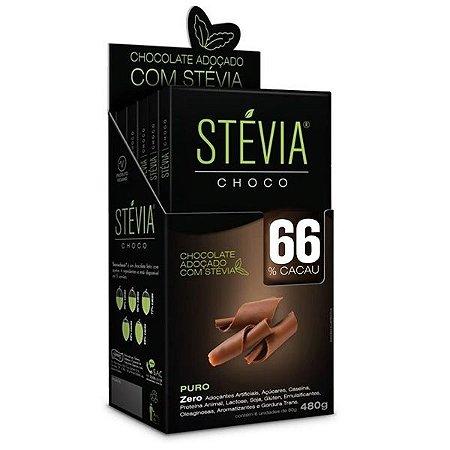 Chocolate Stevia 66% Cacau - Caixa com 6 Tabletes de 80g