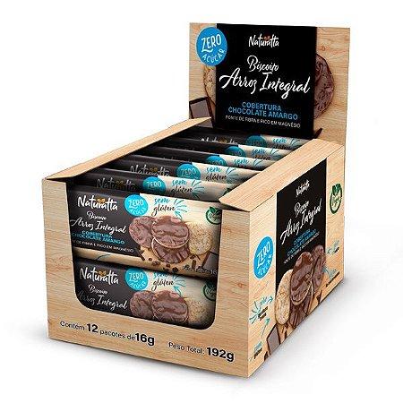 Biscoito de Arroz Chocolate Amargo Zero Açúcar Display 24 pct