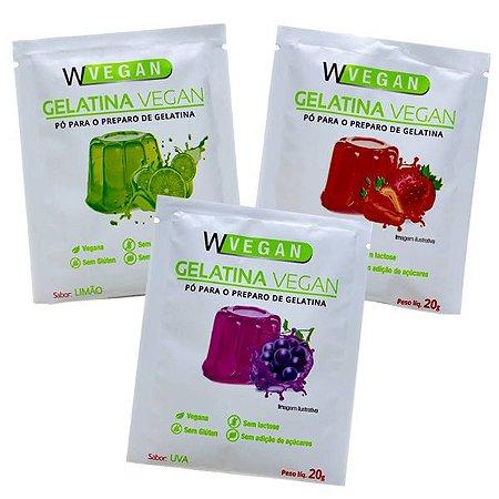 Gelatina Vegana Kit com 3 Sabores Wvegan