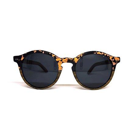 Óculos de madeira feminino Makuna com resíduo de madeira laranja