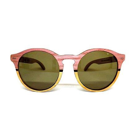 Óculos de madeira feminino Puris - rosa