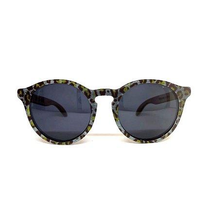 Óculos de madeira feminino Puris - oncinha