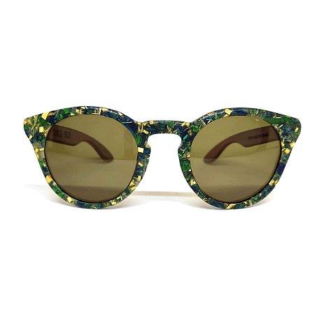 Óculos de madeira feminino Potiguara - resíduo de madeira