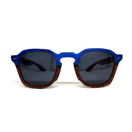Óculos de madeira masculino Moema - azul