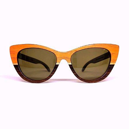 Óculos de madeira feminino Aruak- laranja