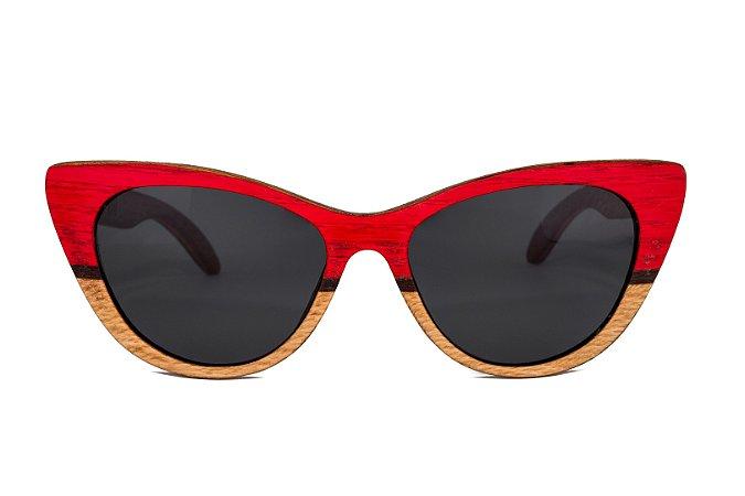 Óculos de madeira feminino Aruak- vermelho