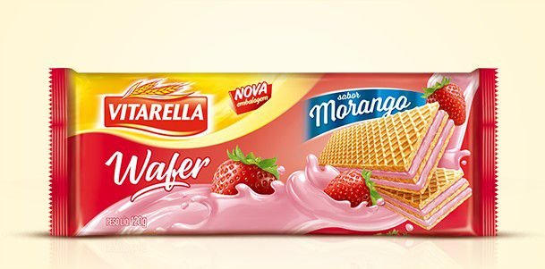 Biscoito Vitarella Wafer Morango 120g