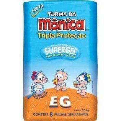 Fralda Tripla Proteção EG Turma da Mônica 8 unidades